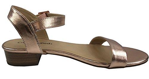 Heel Strap Toe Sandal Rose Ankle B 's Classified Black 5 Block Open Gold City Low US M Pat Women 5 YgRqxz