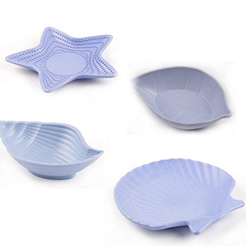 TA BEST Multipurpose Ceramic Seasoning Dishes Appetizer Plates, 4Pcs Wheat Straw Small Dish, Multi-Shape Saucers Bowl Dinnerware Set for Vinegar/Salad Soy Sauce/Wasabi ()