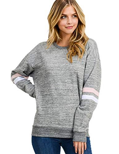 (Women's Basic Fleece Stripe on Sleeves Varsity Sweatshirt, Marled Charcoal, Large)