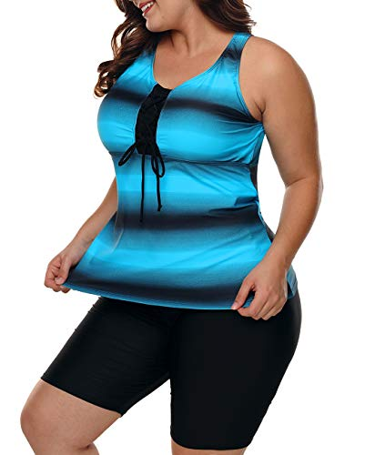 Lalagen Womens Plus Size Racerback Tankini Set Two Piece Swimsuit Boyshort Blue XXXL by Lalagen (Image #2)