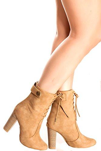 Lolli Couture Forever Link Wildleder Material Seitlicher Reißverschluss Schnalle Pelzbesatz Akzent Chunky High Heel Booties Beige-Grapefruit-4