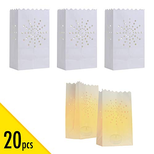 Halloween Luminary Bag Designs (20 pcs White Luminary Bags, Candle Bag with Sunburst Design, Durable and Reusable Fire-Retardant Cotton Material Paper Lantern Bags for Wedding Valentine Reception Engagement Marriage Proposal)