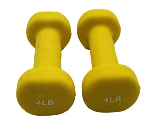LUXEHOME Colorful One Pair of Neoprene Coated Dumbbells with Non-Slip Grip (Yellow, 4 Ibs)