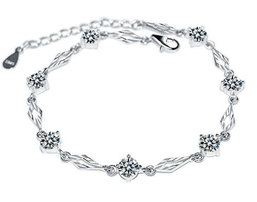 Hot Diamonds Silver Mens Bracelets (zgshnfgk Shang hand jewelry s925 sterling silver bracelet Creative hot car flower diamond bracelet(Silver Red-19))
