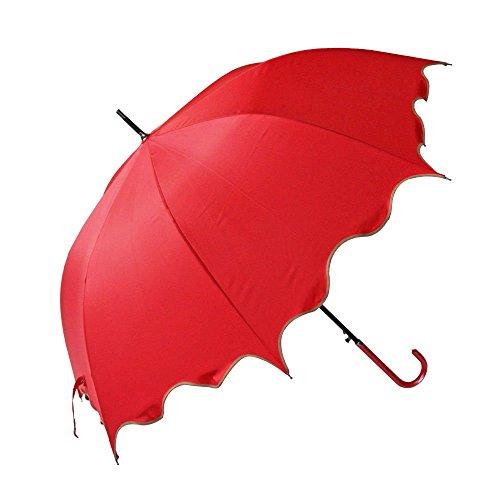 Red Auto Open Windproof Umbrella Flouncing Rain Umbrella Princess Dome Parasol Long by Fashion Hat