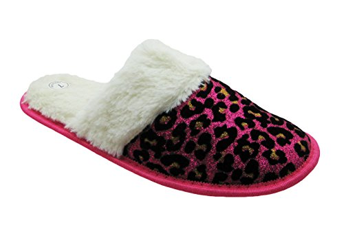 Pictures of Sparkling Animal Printed House Slippers w/Fluffy 1