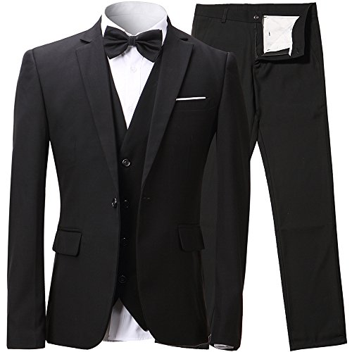Mens Slim Fit 3-Piece Suit Blazer One Button Suit Jacket Tux Vest & Trousers,Black Suit, US Regular 38/Waist 32, Black