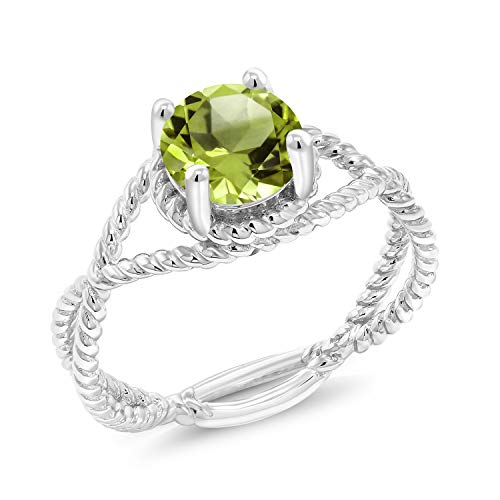- Gem Stone King 925 Sterling Silver 1.35 Ct Round Shape Green Peridot Solitaire Ring (Size 7)