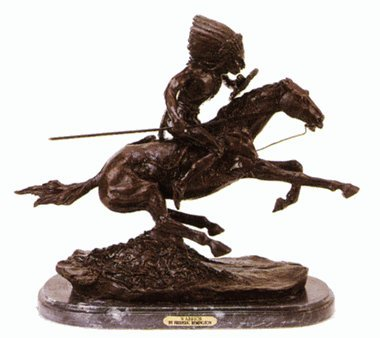 - WARRIOR STATUE AMERICAN BRONZE HANDMADE SCULPTURE BY FREDERIC REMINGTON MEDIUM SIZE 9.5