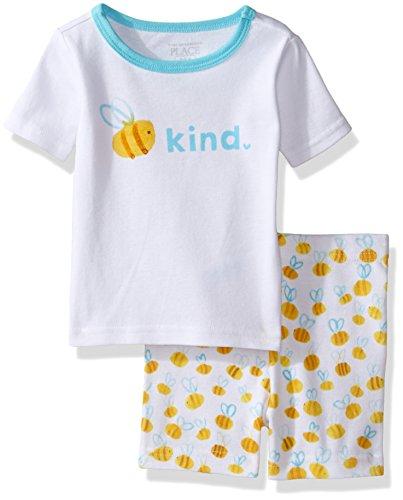 The Children's Place Baby Girls 2-Piece Short Pajama Set, Bee (White) 77249 3-6 Months