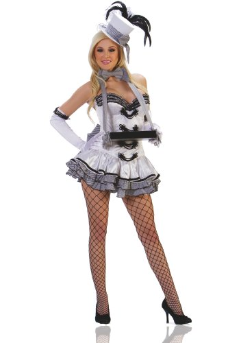 Starline Women's White Cigarette Girl Sexy Costume Set, White/Black, Small