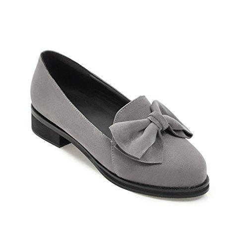 Baja con pajarita y zapatos de estudiantes femeninas versátil boca superficial solo zapatos Zapatos gray