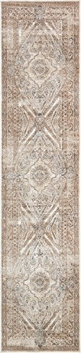 Texture Modern Carved Vintage Traditional Look & Feel Beige 3' x 13' Runner Ephesus Collection Area Rug (Rug Modern 13 Collection)