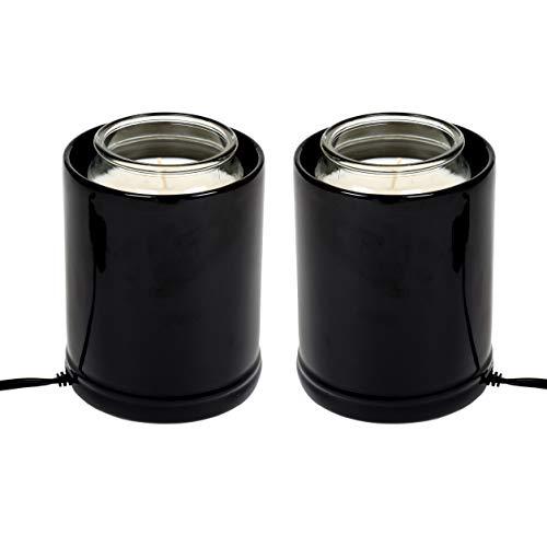 - Elanze Designs Glossy Black Ceramic Stoneware Jar Candle Warmer, 2 Pack