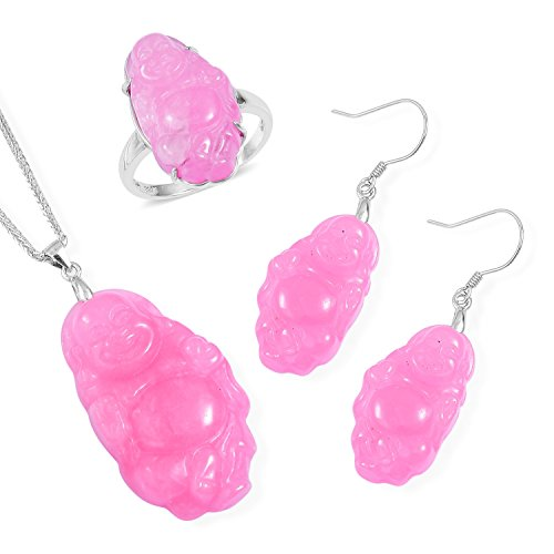 Pink Jadeite Carved Rhodium Plated Silver Earrings, Ring and Pendant With Chain 20 in Size 7 for sale