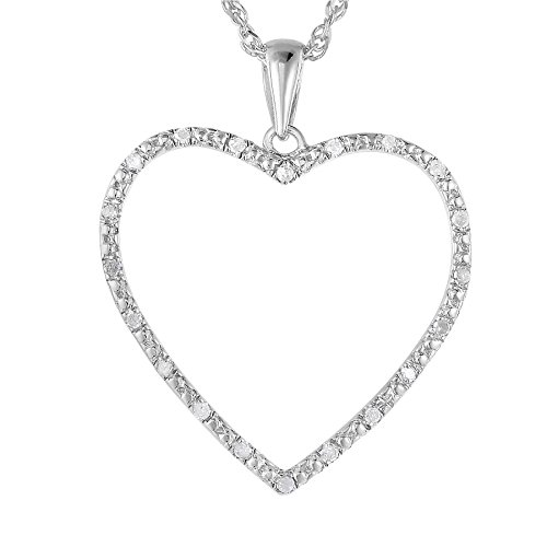 Sterling Silver Diamond Heart Pendant (1/8 CT) With 18 Inch Chain