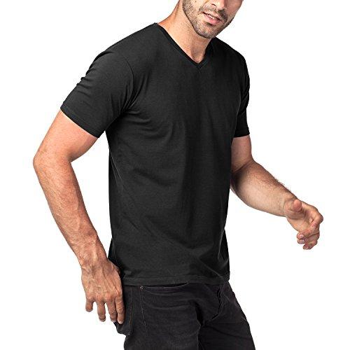 Lapasa Men's 2-Pack Short Sleeve T Shirts Tag-Free V Neck Cotton Stretch Undershirts M06