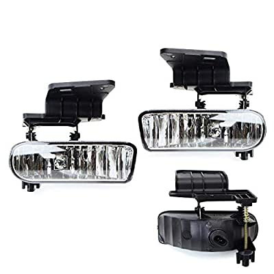 iJDMTOY 89-343-Clear Clear Lens Fog Lights Foglamp Kit with 880 Halogen Bulbs w/Mounting Brackets For 1999-2002 Chevrolet Silverado 1500 2500, 2000-2001 3500, 2000-2006 Suburban Tahoe: Automotive