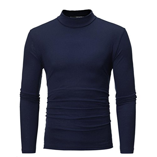 Sunhusing Men's Autumn and Winter Solid Color Turtleneck Long Sleeve Top Elastic Slim Pullover Navy
