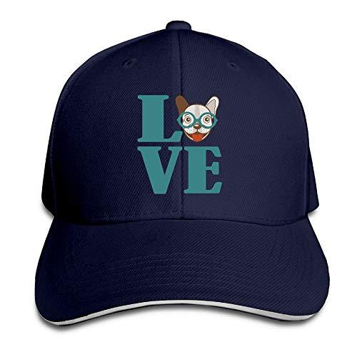 - Adult Love French Bulldog Cotton Lightweight Adjustable Peaked Baseball Cap Sandwich Hat Men Women
