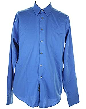 Calvin Klein Blue Textured Dress Shirt 16.5 36-37 L