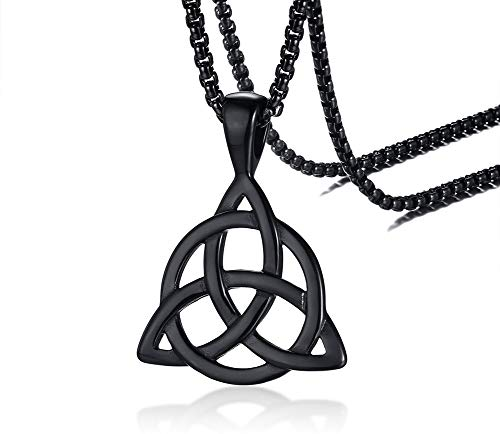 PJ Jewelry Mens Stainless Steel Irish Celtic Knot Triquetra Trinity Triangle Pendant Necklaces with 24