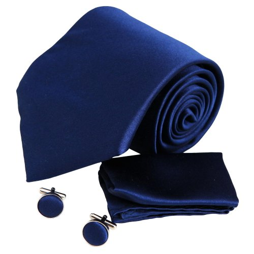 H5077 Navy Plain Christmas Presents Idea For Dress Silk Ties Cufflinks Hanky Set 3PT By Y&G