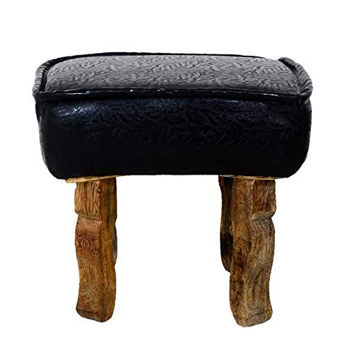 ASP WORLD Puffy Sitting Stool Black orange Designer Pouffe Cushioned Stool for Living Room Office Kitchen Puffy Stool (Black - color)