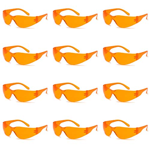 TRUST OPTICS 12 Pack Impact and Ballistic Resistant Safety Protective Glasses with Anti Blue Light Orange Lenses