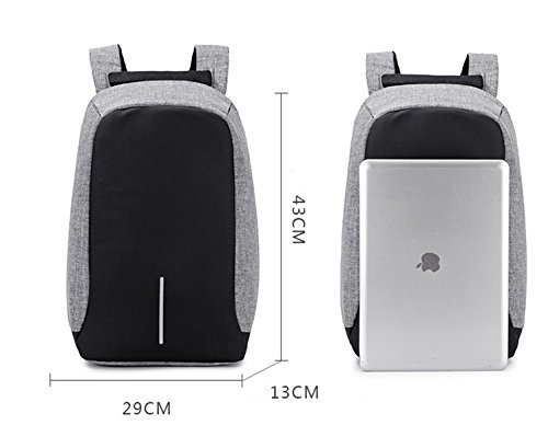 Capacity With Gray Backpack Concise Usb Shoulder Double Black Zantec Bag Oxford Charging Large Simple 7HqI88