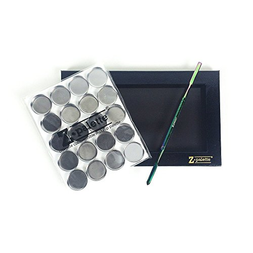 Z Palette De-Potting Makeup Kit with Large Black Palette, De-Potting Spatula and Square & Round Metal Pans