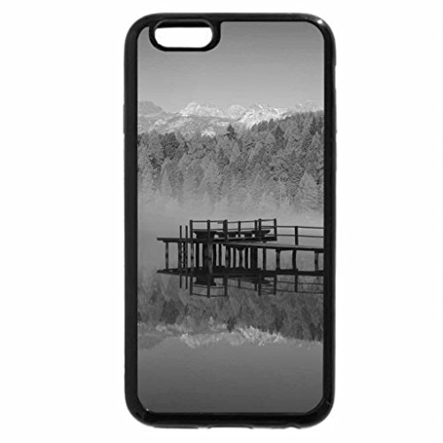 iPhone 6S Plus Case, iPhone 6 Plus Case (Black & White) - swiss lake in morning fog