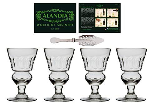 - 4x Absinthe-Glasses with Reservoir | Authentic reproduction of the 19th century original | + 1x traditional Absinthe-Spoon