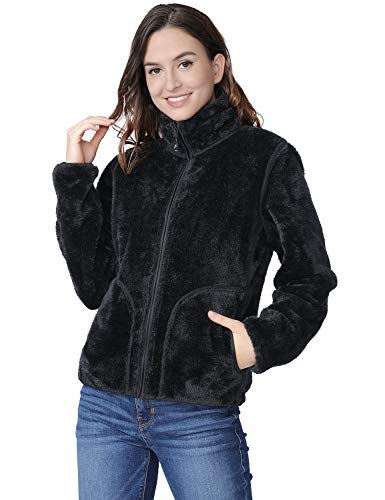 - Fleece Jacket Women Soft Reversible Polar Fleece Full Zip Jackets Leisure Outdoor Lapel Fashion Cardigan Coat Sweatshirts Black S