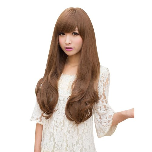 [DAYISS® New Sexy Womens Girls Fashion Style Wavy Curly Long Hair Full Wigs Oblique Bangs Cosplay 3 Colors (Light] (Long Sexy Wigs)