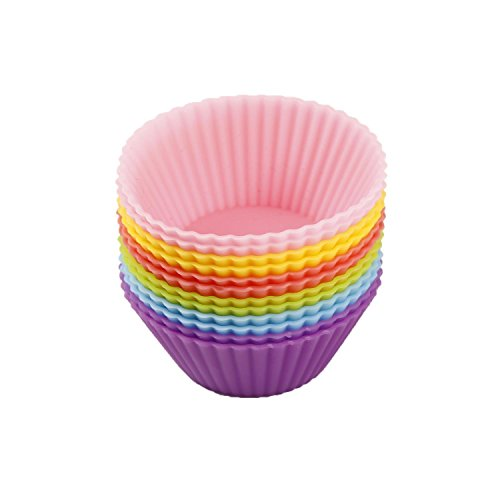 Silicone Cupcake Liners/Baking Cups Reusable Silicone Baking Cups - 12 Vibrant Muffin Molds 2'' ()