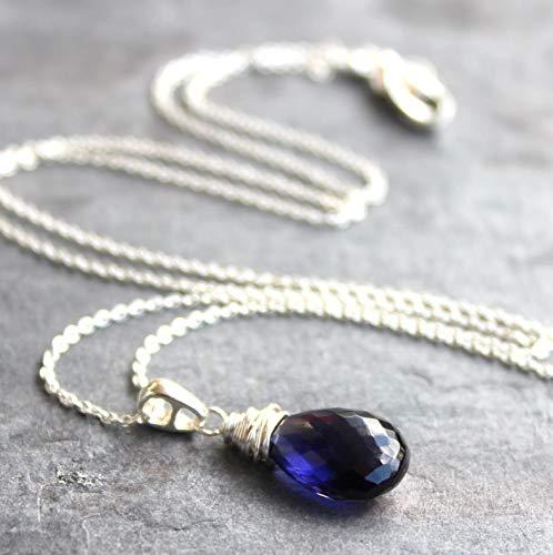 Delicate Iolite Necklace Sterling Silver Blue Violet Gemstone Briolette Pendant 18 Inch Length ()