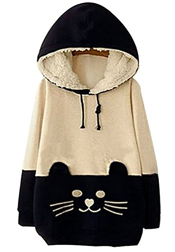 Woman Girls Kawaii Cat Face Tail Hoodie with Cute Hat Fleece Sweater Shirt 41MJcedJi1L