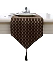Beige cream coffee handmade weave home decorative party gift tassel bed table runner cloth
