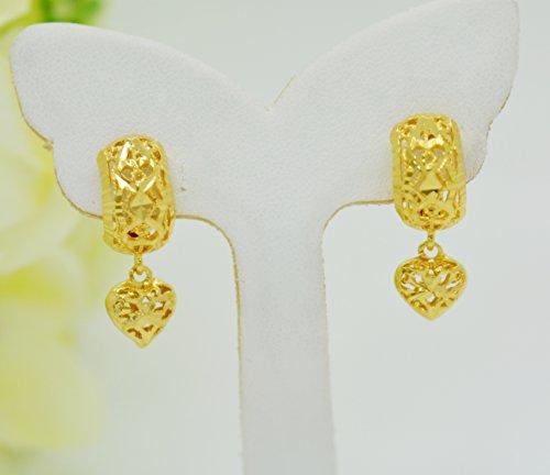Heart Women Jewelry Earrings 22k Yellow Gold Plated Gp Drop Hoop Leverback Thai Filigree 14 mm ()