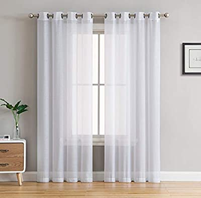 "HLC.ME 2 Piece Sheer Voile Window Curtain Grommet Panels - 45"", 63"", 72"", 84"", 90"", 95"", 108"" Inches Long"