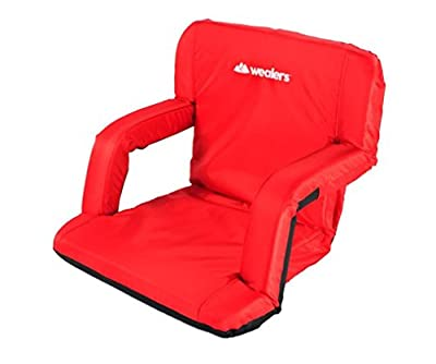 Stadium Bleachers Seat Portable Comfortable Padded Cushion 6 Reclining Positions Floor Chair with Armrests Great for The Beach Camping Picnic Easy to Carry with Adjustable Shoulder Straps