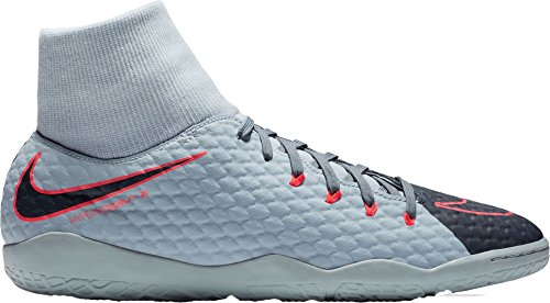 Price comparison product image Nike Men's HypervenomX Phelon III Dynamic Fit Indoor Soccer Shoes (Grey/Blue, 7 D(M) US)