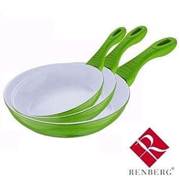 Renberg - Juego de 3 sartenes de cerámica antiadherentes de cerámica para freír, color verde: Amazon.es: Hogar