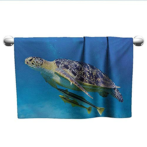 (Bensonsve Hand Towel Turtle,Cute Angry Looking Sea Turtle Swimming with Remora Fishes Fauna Under The Sea,Blue Yellow Brown,t Shirt Towel for Curly Hair)
