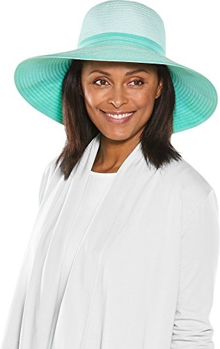 (Coolibar UPF 50+ Women's Zoey Ribbon Hat - Sun Protective (One Size- Mint/White))