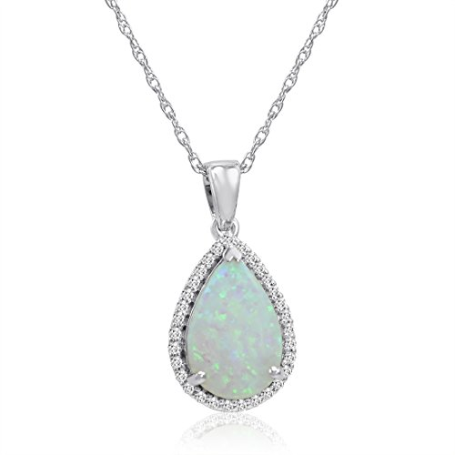 Amanda Rose Collection Pear Shape Lab Created Opal and White Sapphire Pendant-Necklace in Sterling Silver ()