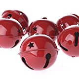 Red Reindeer Sleigh Bell Adorned with Star Cutouts Package of 6
