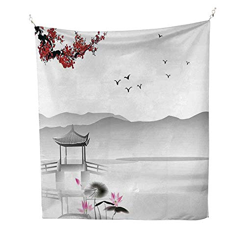 Asianoutdoor tapestryJapanese Asian Style Garden Bird and Small Pavilion Over The Lake Lotus Waterlily 70W x 84L inch Ceiling tapestryGrey Pink Red ()