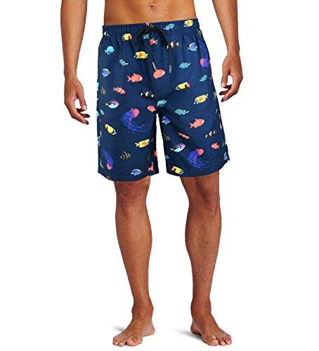 WINUS Men's Printed Beach Swim Trunk Hawaiian Shorts with Mesh Lining, Colorful Fish and Mazarine, X-Large (Trunks Fish Swim)